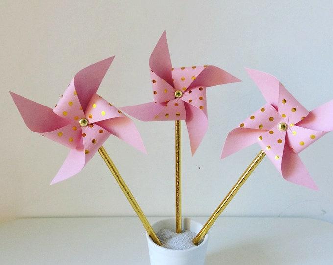 Pink & gold pinwheels