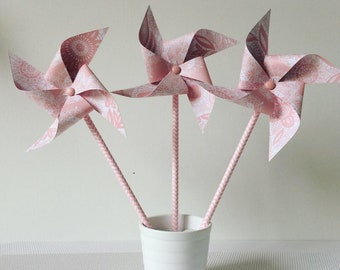 Medium lace pink windmills and large model
