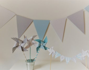 Garland, flags, baptism, room decor, blue, gray, boy baptism