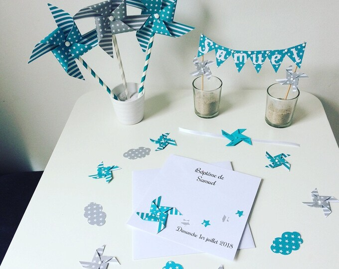 Confetti, decoration of table, pinwheels, cloud, Star, blue, gray