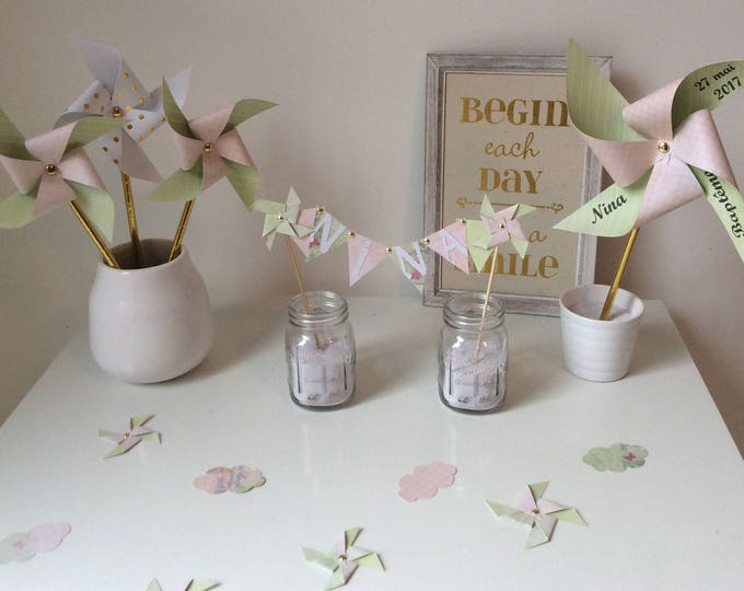Confetti, decoration of table, pinwheels, cloud, Star, pink, green, pastel