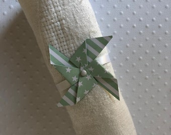 Napkin ring with water/Mint green windmill