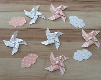 Confetti, table, pinwheels, cloud, Star, Pink salmon, peach, white