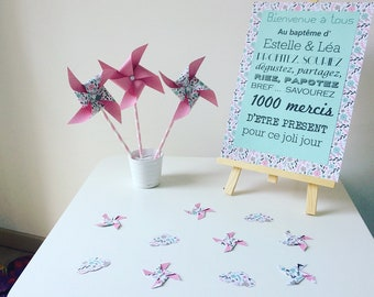 poster, pink, flowers, baptism, wedding, event decoration,