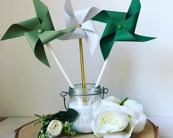 Windmills, rustic, Bohemian wedding decor, green wedding