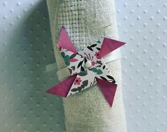 Rond de serviette rose & fleurs