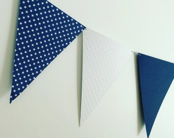 Garland, flags, baptism, wedding, decor, Navy Blue, white