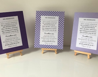 christening poster for purple godfather and godmother