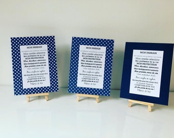 christening poster for godfather and navy blue godmother