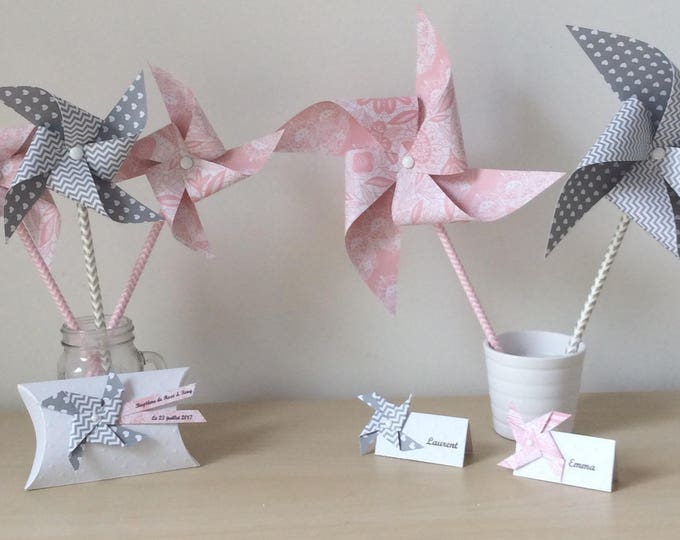 Pack wedding, baptism, pink, lace, grey, deco Pack