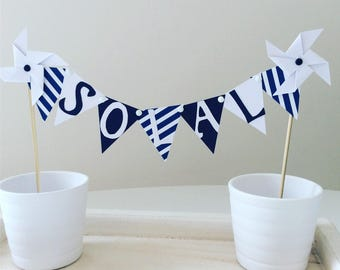 Cake topper, decoration, cake banner, pinwheels, baptism, wedding, Navy Blue, white