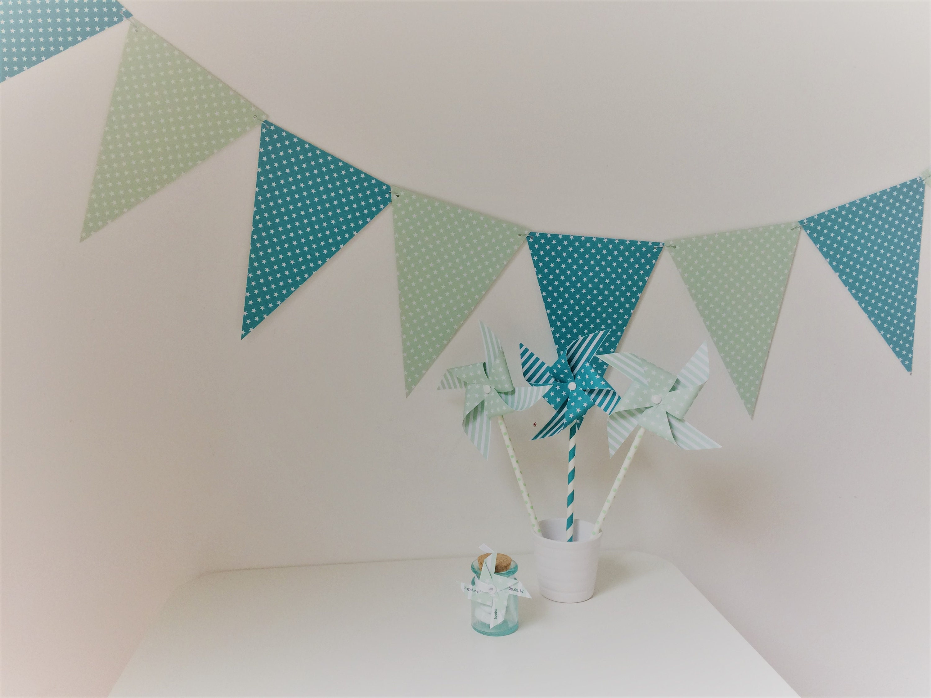 Garland Flags Baptism Room Decor Turquoise Green Boy