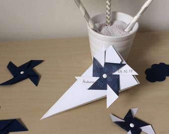 Box dragees windmill, baptism, cone, blue and white, guest gift