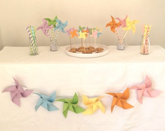 Garland, windmill, birthday, baptism, room decor, Rainbow