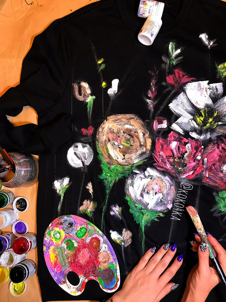sweatshirt with art work on Art on sweatshirt Gift excellent poppies clothes overscount swt sweater in colors wedding Art on cloth flower