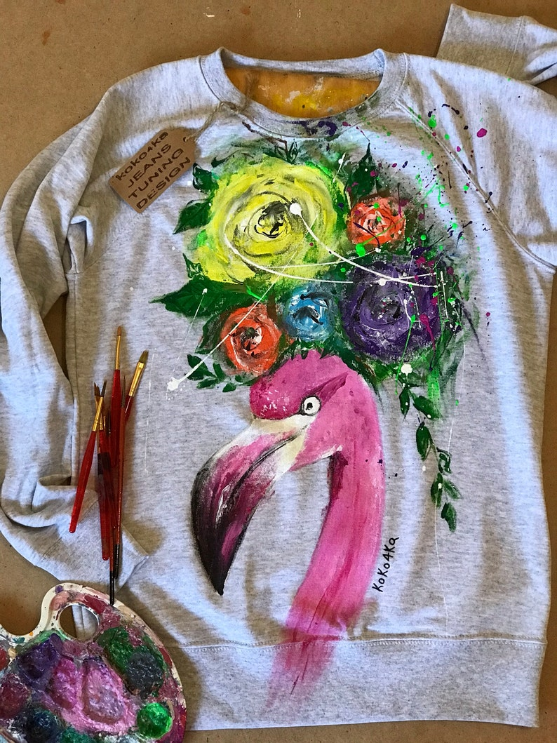sweatshirt with art work on it Art on sweatshirt Gift oversized sweater unicorn on clothes hand painted clothes dress drawing on clothes art