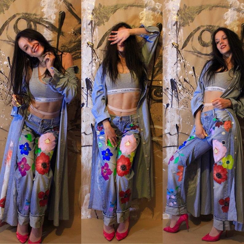 da6223a8c6fee Blots jeans Spray paint Paint Splatter Jeans festival clothing | Etsy