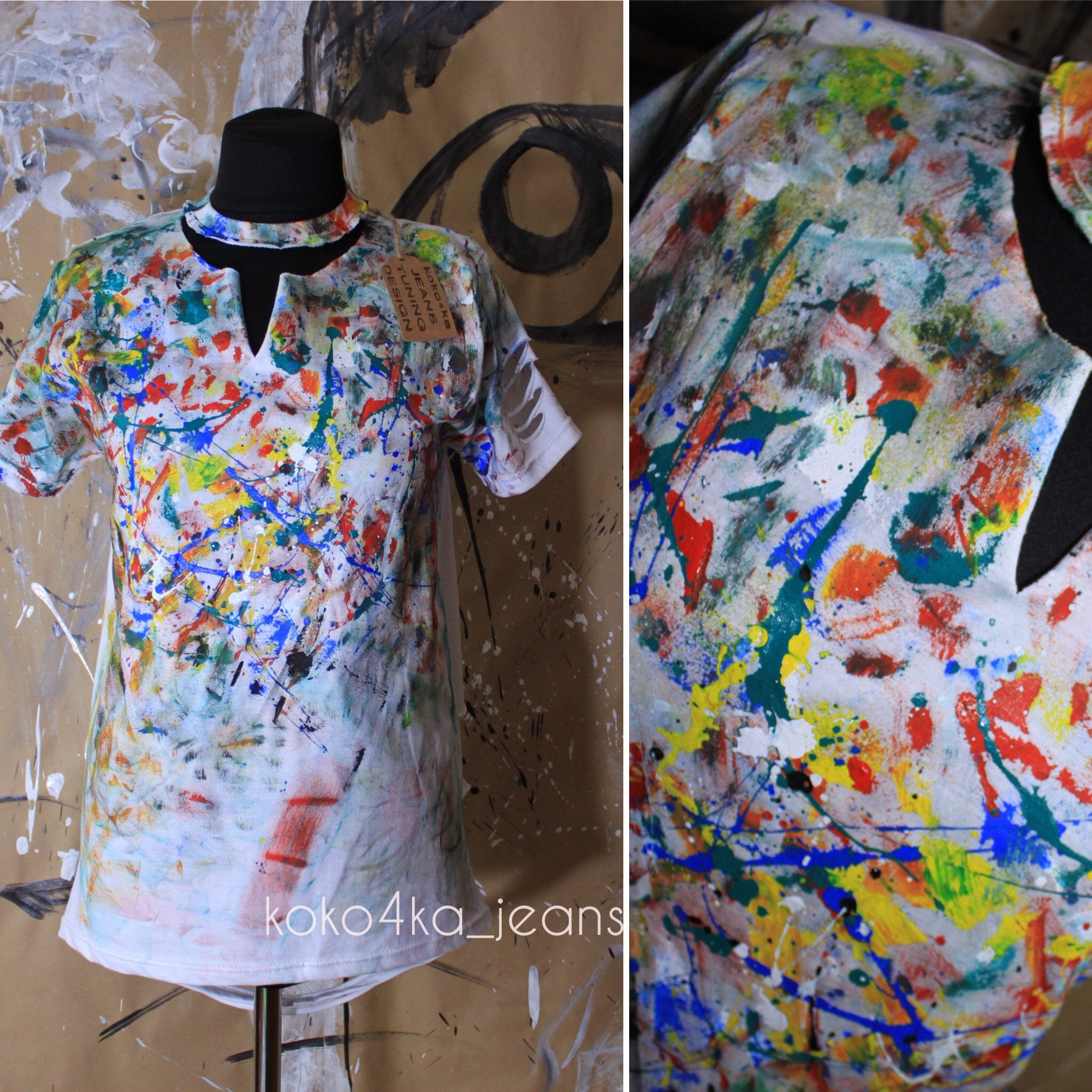 Womens T Shirt T Shirt In Paint Tshirt In The Spray Paint Etsy