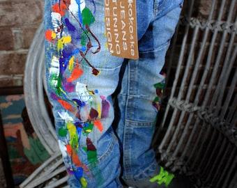 Splatter distress shorts Splatter jeans Jeans for Babies Toddlers Unique kids gifts Trendy kids clothing Paint splatter jeans Spray paint