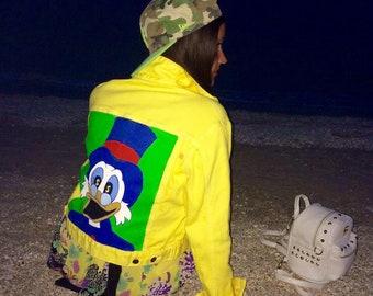 hand-painted clothing denim jacket with painting jacket with art work on art on denim jacket popart fashion disney donald duck Yellow jacket