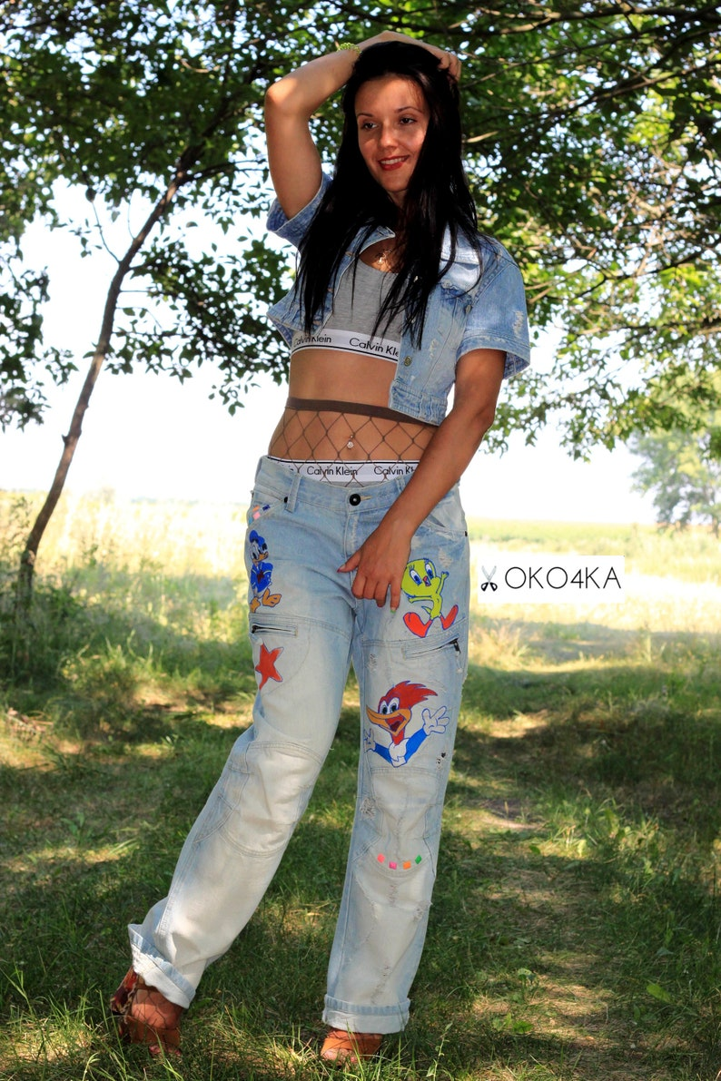 Jeans festival disney jeans birthday anniversary gift Jeans Drawing on jeans disney clothing boyfriend Hand Painted jeans
