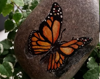 Realistic Butterfly Hand Painted Pebble, Rock, Stone, Monarch, Natural, Gift, Animal Lover, Beautiful, 3D, Pet Rock, Insect