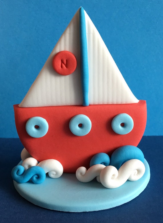 Fine Edible 3D Fondant Sailing Boat Cake Topper Suits Nautical Etsy Birthday Cards Printable Trancafe Filternl