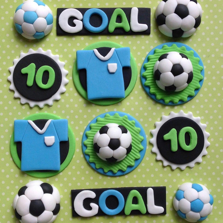 12 Edible fondant FOOTBALL cupcake toppers. SOCCER cake | Etsy