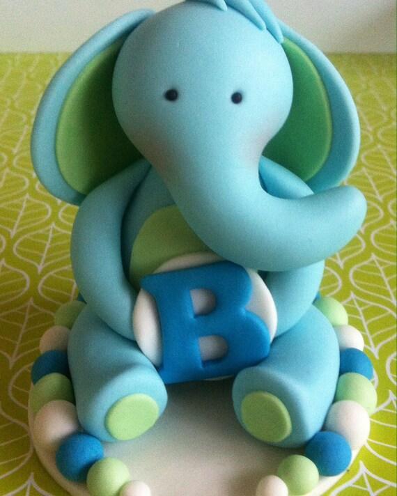 Edible Fondant 3d Baby Elephant Cake Topper Birthday Cake Etsy