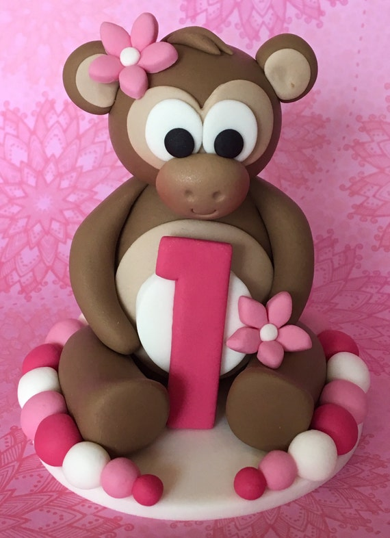 Swell Edible 3D Fondant Cheeky Monkey Cake Topper Girls Birthday Etsy Funny Birthday Cards Online Alyptdamsfinfo