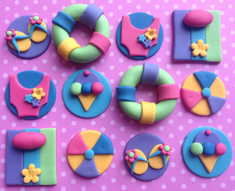 12 Edible SUMMER Cupcake Toppers BEACH Party Girls Birthday