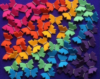 60 edible BUTTERFLY cupcake toppers. Rainbow colours. Cake toppers. Birthday decorations. Rainbow birthday party.