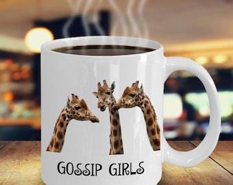 Funny Giraffe Coffee Mug - Gossip Girls - Giraffe Gifts
