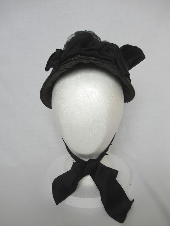 Antique Mourning Bonnet, Civil War Era Widow's Ha… - image 2