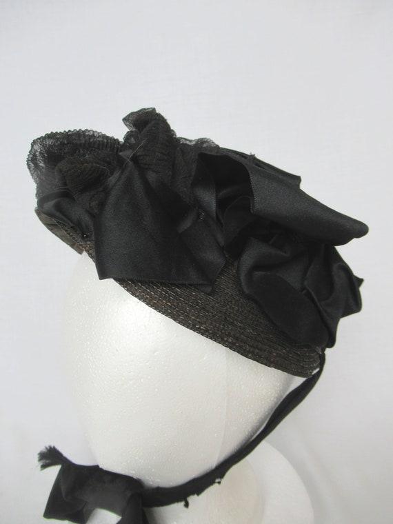 Antique Mourning Bonnet, Civil War Era Widow's Ha… - image 1
