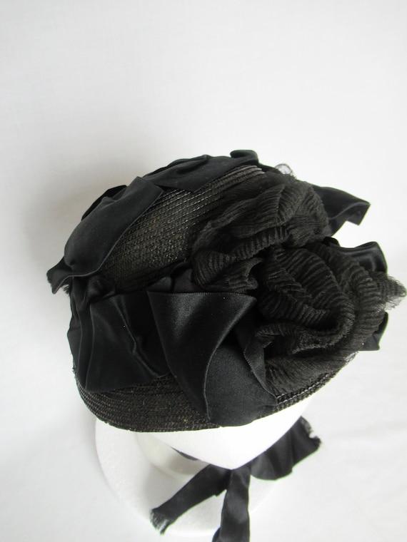 Antique Mourning Bonnet, Civil War Era Widow's Ha… - image 6