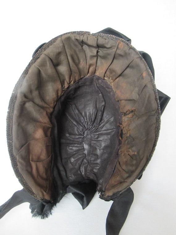 Antique Mourning Bonnet, Civil War Era Widow's Ha… - image 7