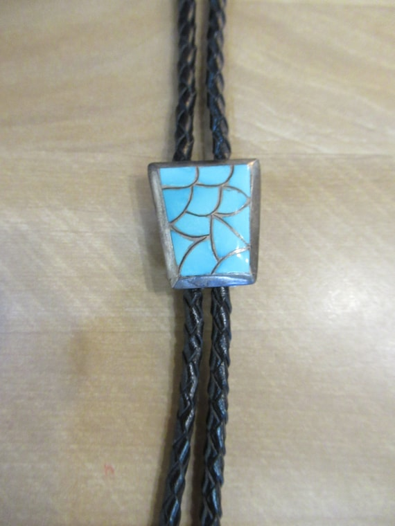 Vintage Native American Turquoise Bolo Tie, Zuni S