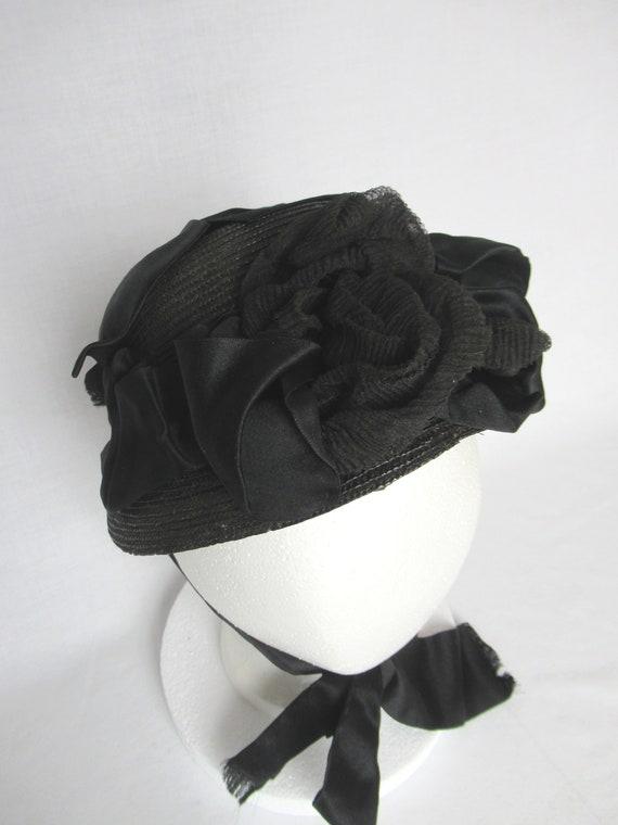 Antique Mourning Bonnet, Civil War Era Widow's Ha… - image 4