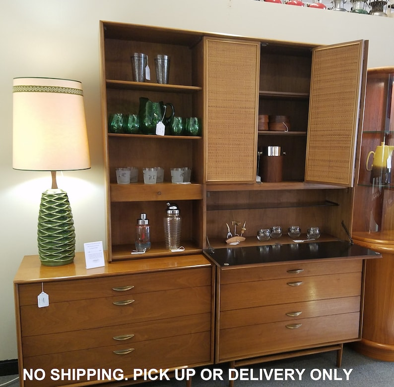 Drexel Parallel MidCentury Cabinets With Bar Hutch 3 Piece