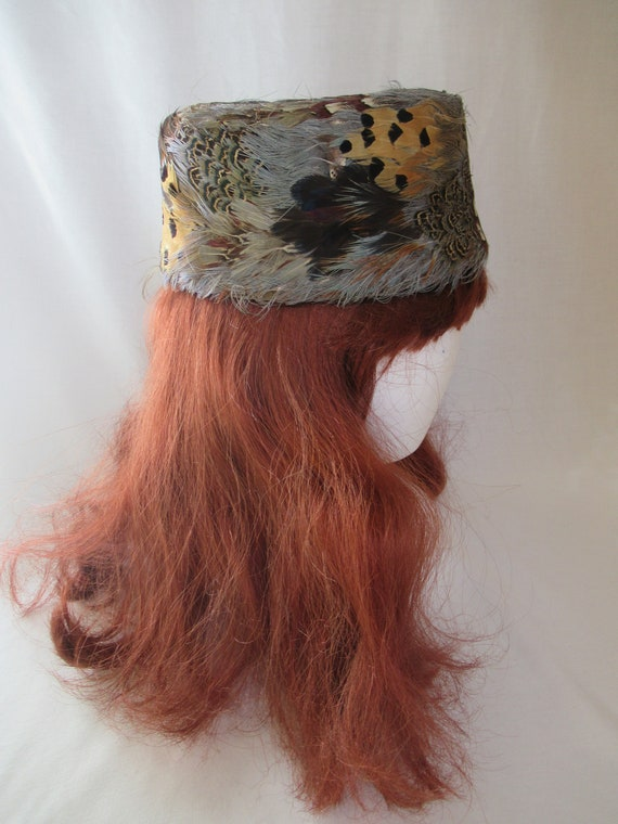 Vintage Pheasant Feather Pillbox Hat, Retro Boho S