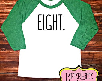 Eight Year Old Birthday Shirt Eigth Boy 8 8th Outfit Raglan