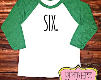 Six Year Old Birthday Shirt Sixth Boy 6 6th Outfit Raglan