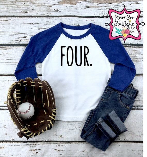 Baseball 4th Birthday Gift for Four Year old Toddler//Kids Long sleeve T-Shirt 4
