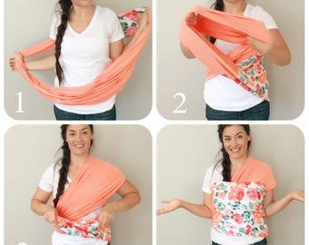 Baby Wrap Carrier, stretchy Baby Carrier, Infant Carrier, Newborn Wrap, Baby Sling, Babywearing, Infinity Scarf, Nursing Cover, 3 in 1