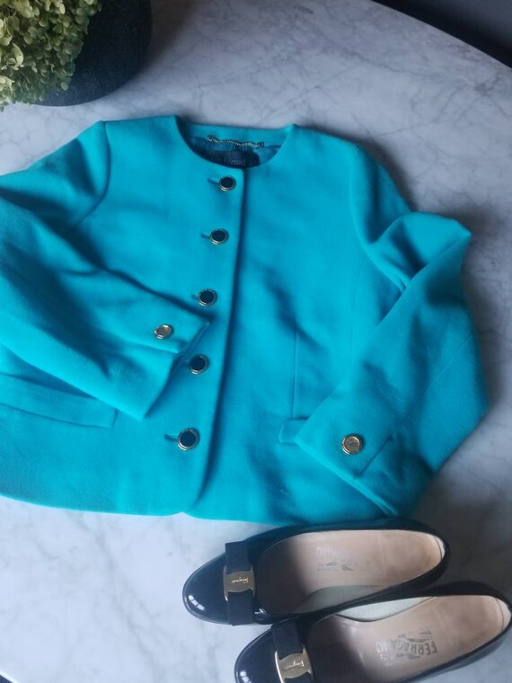 Free shipping!!! Louis Feraud Wool Teal blazer sz