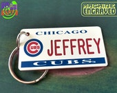 Personalized Chicago Cubs Plate Keychain Tag - Retro KeyTag - Machine Engraved - Fan Name Souvenir - Coach Gift - Licensed MLB Key Ring Fob