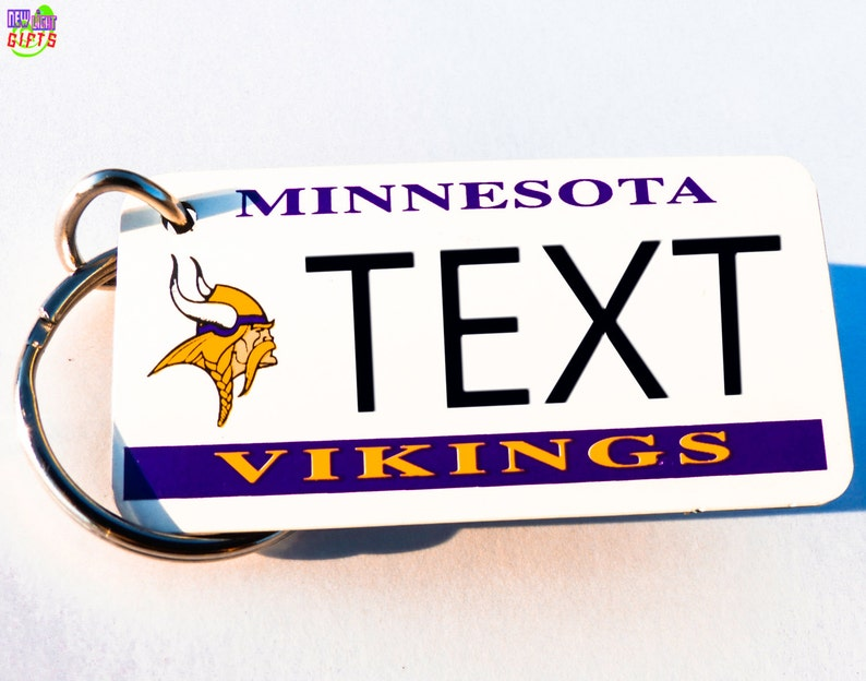 the best attitude 6236d 8282f Personalized Minnesota Vikings Keychain Name Plate - Vintage Keytag -  Machine Engraved - Fan Souvenir - Coach Gift - Licensed NFL Key Ring