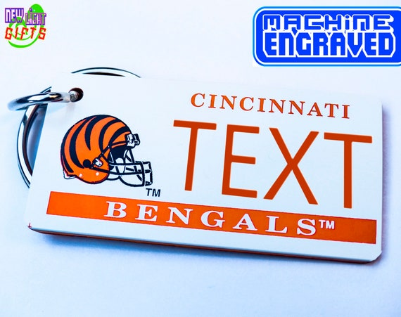 Personalized Cincinnati Bengals Keychain Name Plate - Vintage - Machine  Engraved - Fan Souvenir - Coach Gift -Official Licensed NFL Key Ring