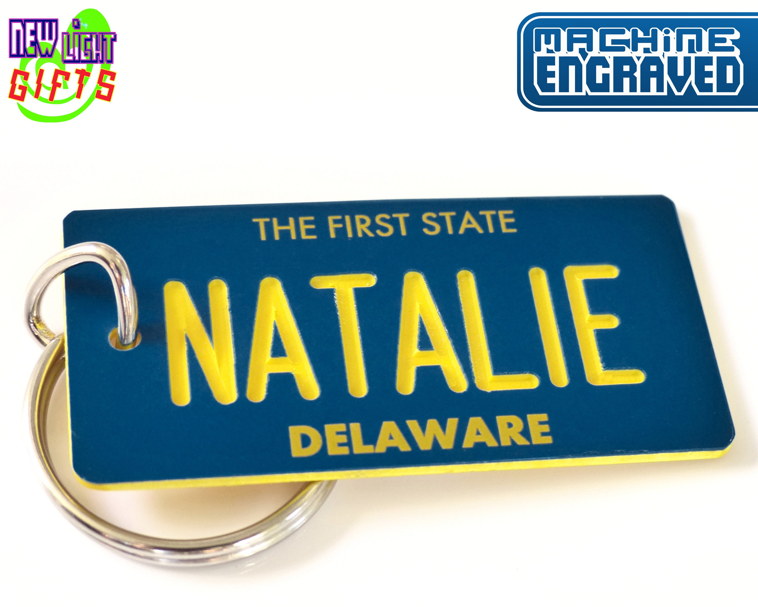 Amber Waves of Grain Personalized Indiana License Plate Engraved Keychain Any Name Made to Order Key ring Key Tag